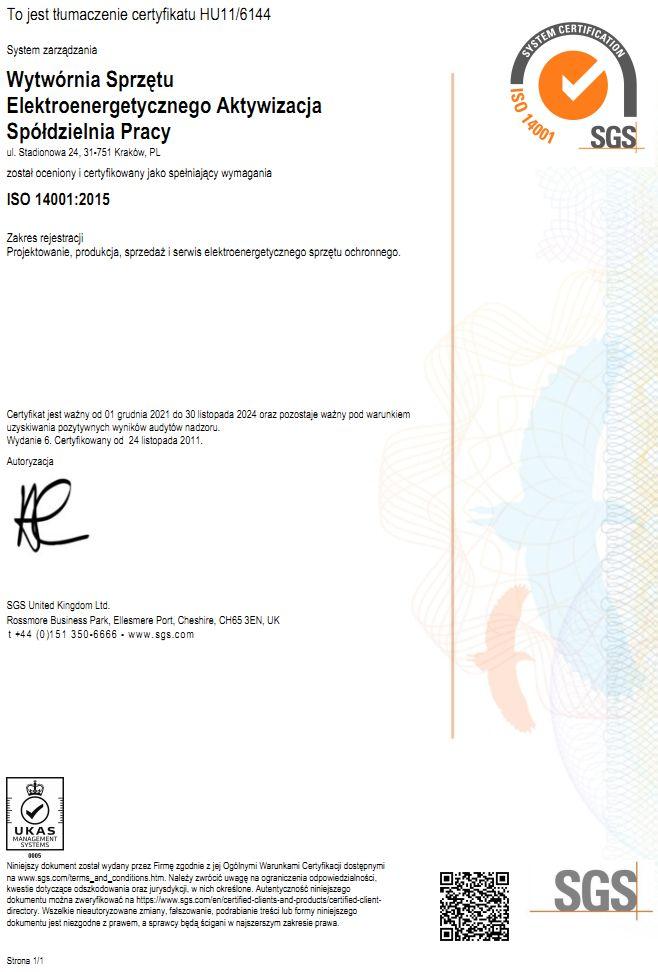 certyfikat środowiskowy zintegrowawnego systemu zarządzania